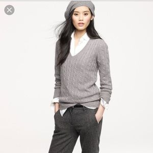 JCrew Cambridge cable knit v neck gray sweater